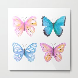 Vibrant butterflies watercolor Metal Print