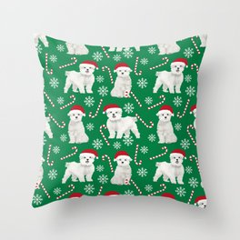 Maltese christmas festive dog breed holiday candy canes snowflakes pattern pet friendly dog art Throw Pillow