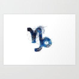 Capricorn zodiac sign, Horoscope Astrology background, Capricorn horoscope symbol, blue symbol on white background Art Print