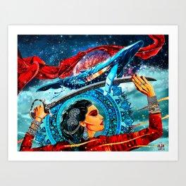 Girl with a sword Art Print