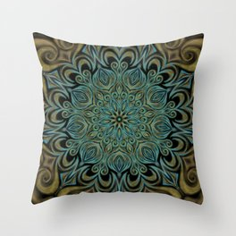 Teal and Gold Mandala Swirl Throw Pillow