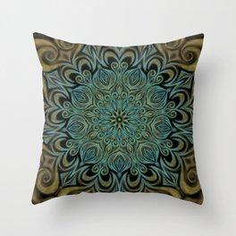 Teal and Gold Mandala Swirl Throw Pillow
