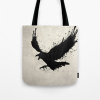 raven Tote Bags featuring Raven by Nicklas Gustafsson