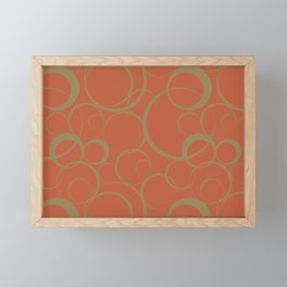 Dark Orange and Brown Funky Ring Pattern V39 Accent Shades To Pantone 2021 Colors of the Year Framed Mini Art Print