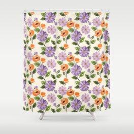 Rustic orange lavender ivory floral illustration Shower Curtain