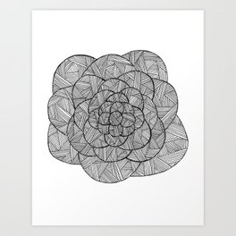 Crosshatched Flower Art Print