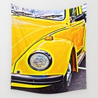 vw Wall Tapestries featuring Yellow VW Beetle by Brian Raggatt