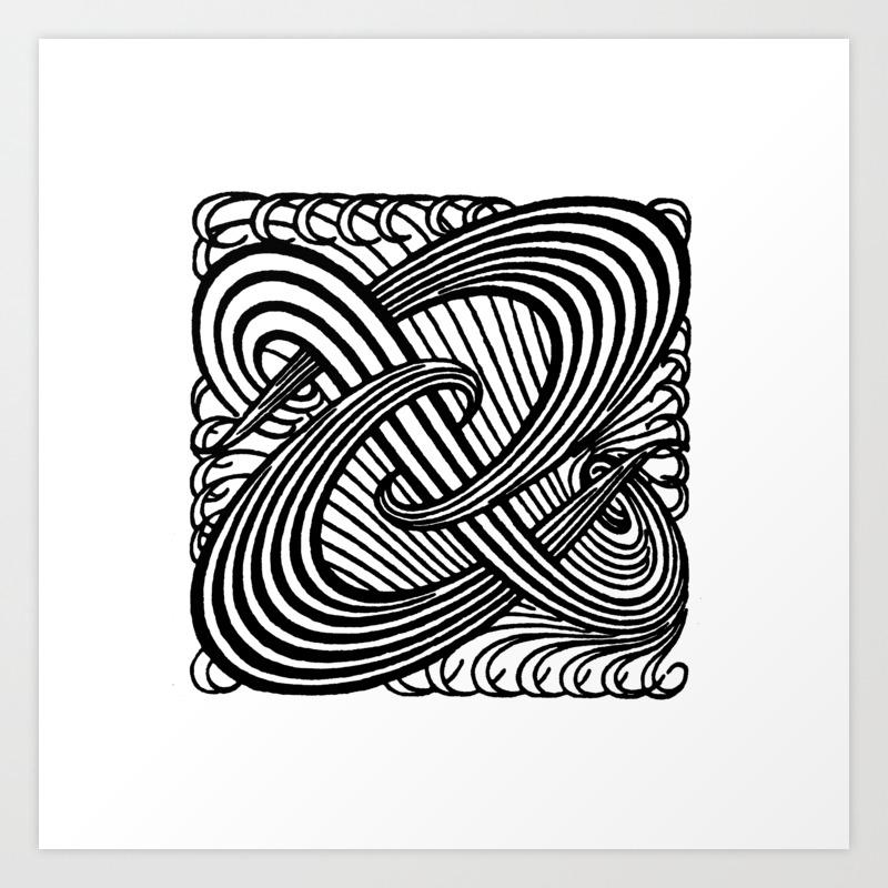 Art nouveau swirls in black and white art print