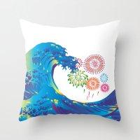 hokusai Throw Pillows featuring Hokusai Rainbow & Fireworks  by FACTORIE