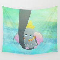 dumbo Wall Tapestries featuring dumbo and his mom by studiomarshallarts