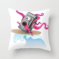 Monster Camera Surfing Throw Pillow