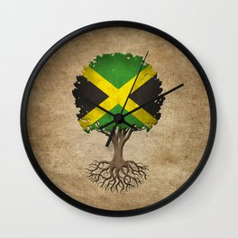 Vintage Tree of Life with Flag of Jamaica Wall Clock