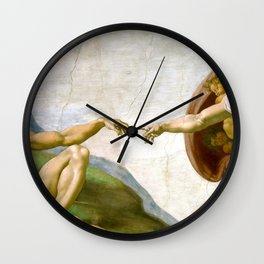 The Creation of Adam Painting by Michelangelo Sistine Chapel Wall Clock