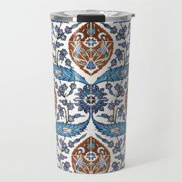 Iznik Tile Pattern Blue White Brown Travel Mug