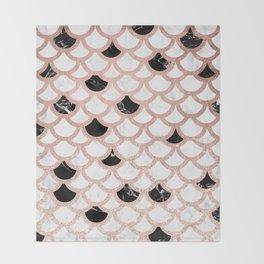 Girly rose gold black white marble mermaid scallop pattern Throw Blanket