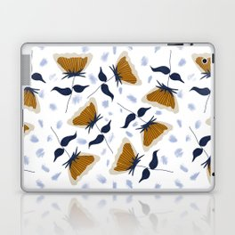 Gold and White Flowers with Blue Laptop & iPad Skin