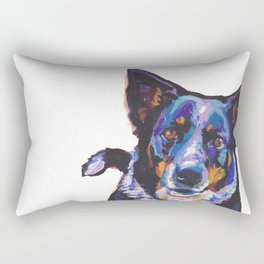 Australian Cattle Dog Portrait blue heeler colorful Pop Art Painting by LEA Rectangular Pillow
