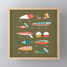 Fishing Lures Green Framed Mini Art Print