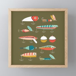 Fishing Lures Green Framed Mini Art Print