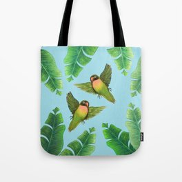 Tropical palm and love birds Tote Bag