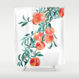 peach watercolor Shower Curtain