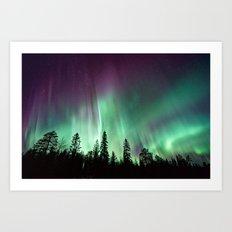 Colorful Northern Lights, Aurora Borealis Art Print
