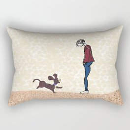Boy and his dog Rectangular Pillow