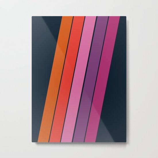 Groovy - retro throwback 70s 1970s stripes beach 70's vibes minimal art Metal Print