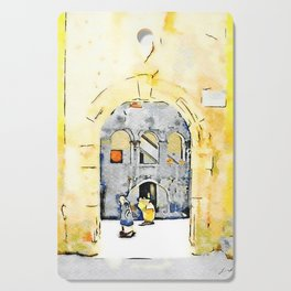 Old woman in courtyard to Tortora Cutting Board