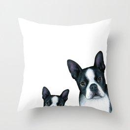 Boston Terrier Dogs black and white Throw Pillow