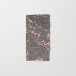 Modern Grey cement concrete on rose gold marble Hand & Bath Towel