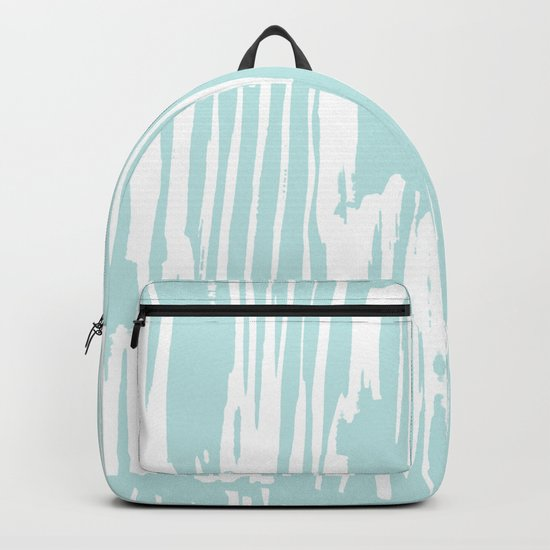 Bamboo Stripe Succulent Blue and White Backpack