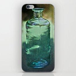 vintage green glass bottle iPhone Skin