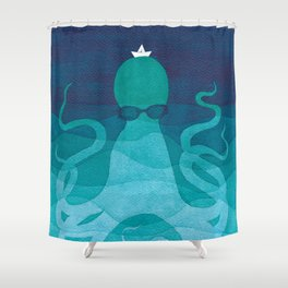 Octopus, sea creature, animals, ocean watercolor teal blue Shower Curtain