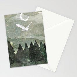 Snowy Owl Landscape Stationery Cards