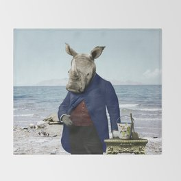 Mr. Rhino's Day at the Beach Throw Blanket