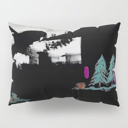Through The Trees. Trees, Birds, Abstract, Black, White, Jodilynpaintings Pillow Sham