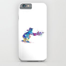 Girl Baseball Player Softball Catcher Colorful Watercolor Sports Artwork iPhone Case