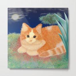 Moonlight Orange Cat Metal Print