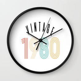 1980 40th Birthday Gift Vintage Color Wall Clock