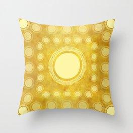 """Gold & Yellow Ethnic Sun Mandala"" Throw Pillow"