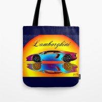 lamborghini Tote Bags featuring Lamborghini Aventador by JT Digital Art