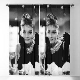 Audrey Hepburn, Tiara, Jewelry, Black and White Wall Art Blackout Curtain