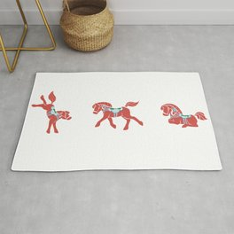 Lovely Little Dala Horses Rug