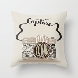 Cute Camera Typography Throw Pillow
