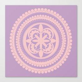 Rose Quartz Violet Floral  Style Mandala Canvas Print