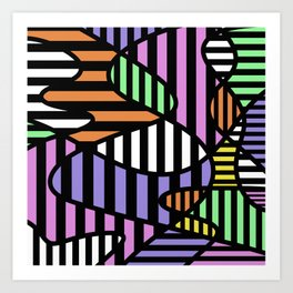 Crazy Curvy Pastel Stripes Art Print