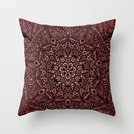 Red Geometric Mandala Throw Pillow
