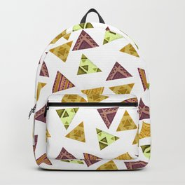 Brown yellow autumn colors hand painted tribal triangles Backpack