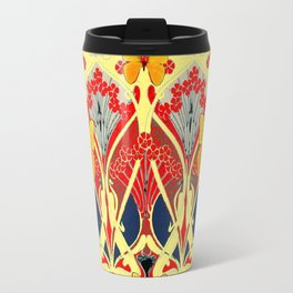 Ornate Black & Yellow Art Nouveau Butterfly Red Designs Travel Mug